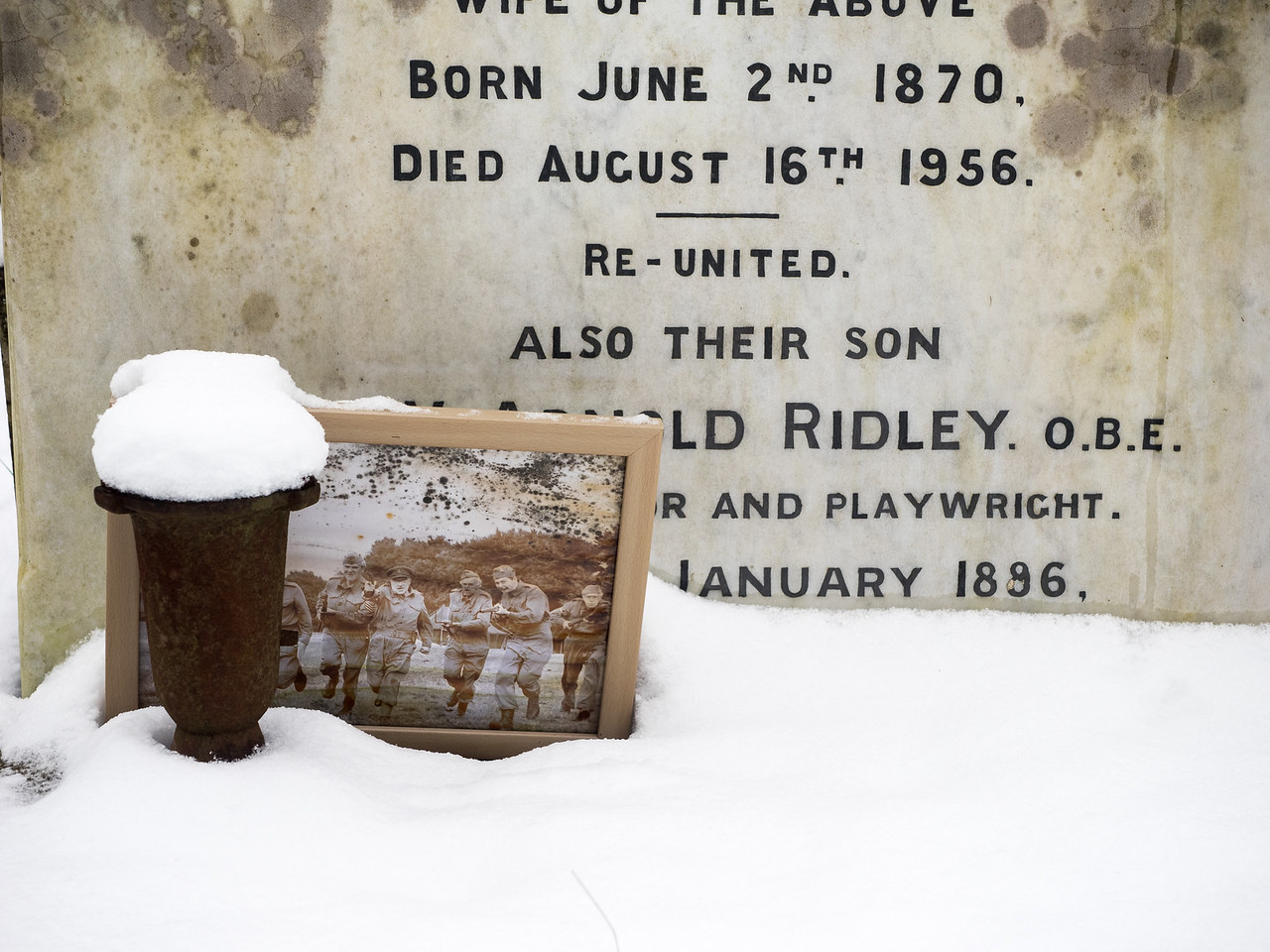This is the grave of Arnold Ridley, who played Private Godfrey in Dad's Army. I stumbled upon it by accident when I noticed the framed picture on the grave.