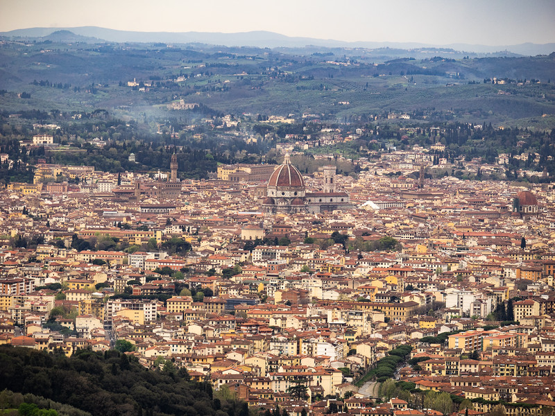 The view of Florence from Fiesole. You can see now the Duomo dominates the city.