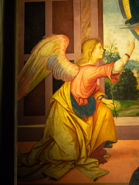 A beautifully painted Angel in the church of the Franciscan monastery.