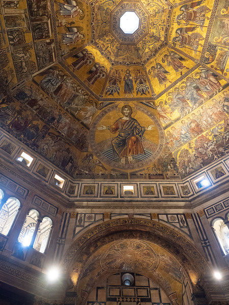 Intense mosaics in the Baptistery. The domed roof was highly impressive.