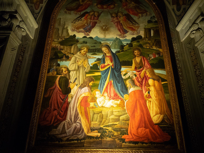 Beautiful colours in this painting of The Adoration of the Magi.