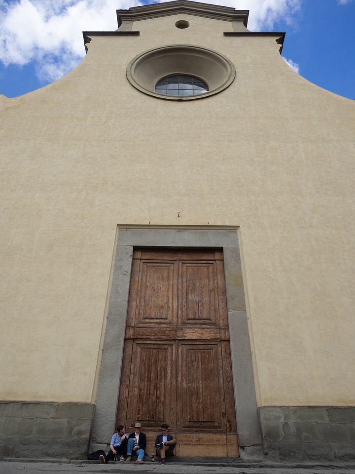 An impressive church facade in the Oltrarno area of Florence.