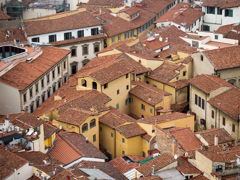Beautiful terracotta tiled roofs as viewed from the Campanile.