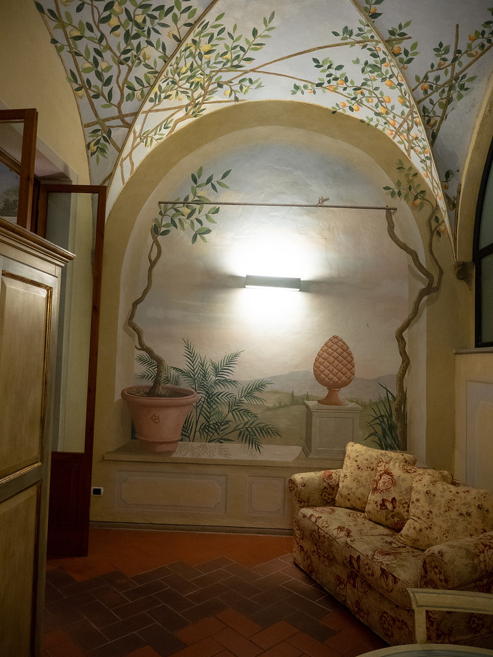 A little sitting room in the apartment with beautiful frescoes. This room actually had a column in it that looked like it may have been part of a cloister in the original monastery.