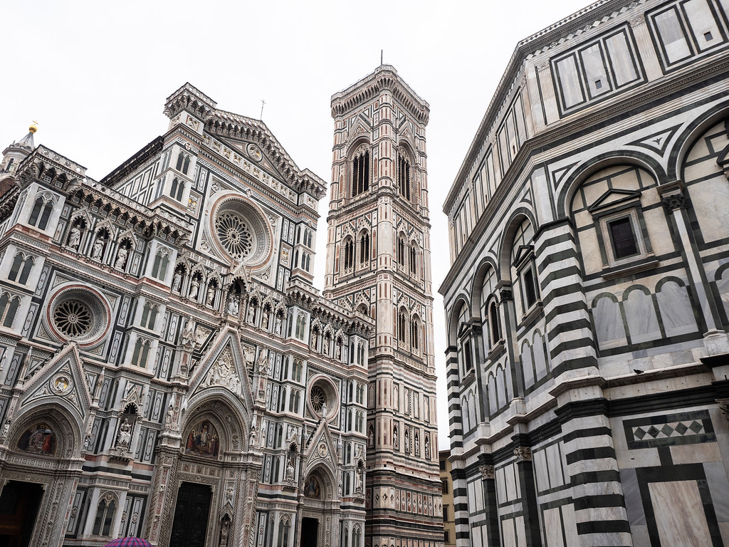 View of the very ornate Duomo, Campanile and Baptistery.