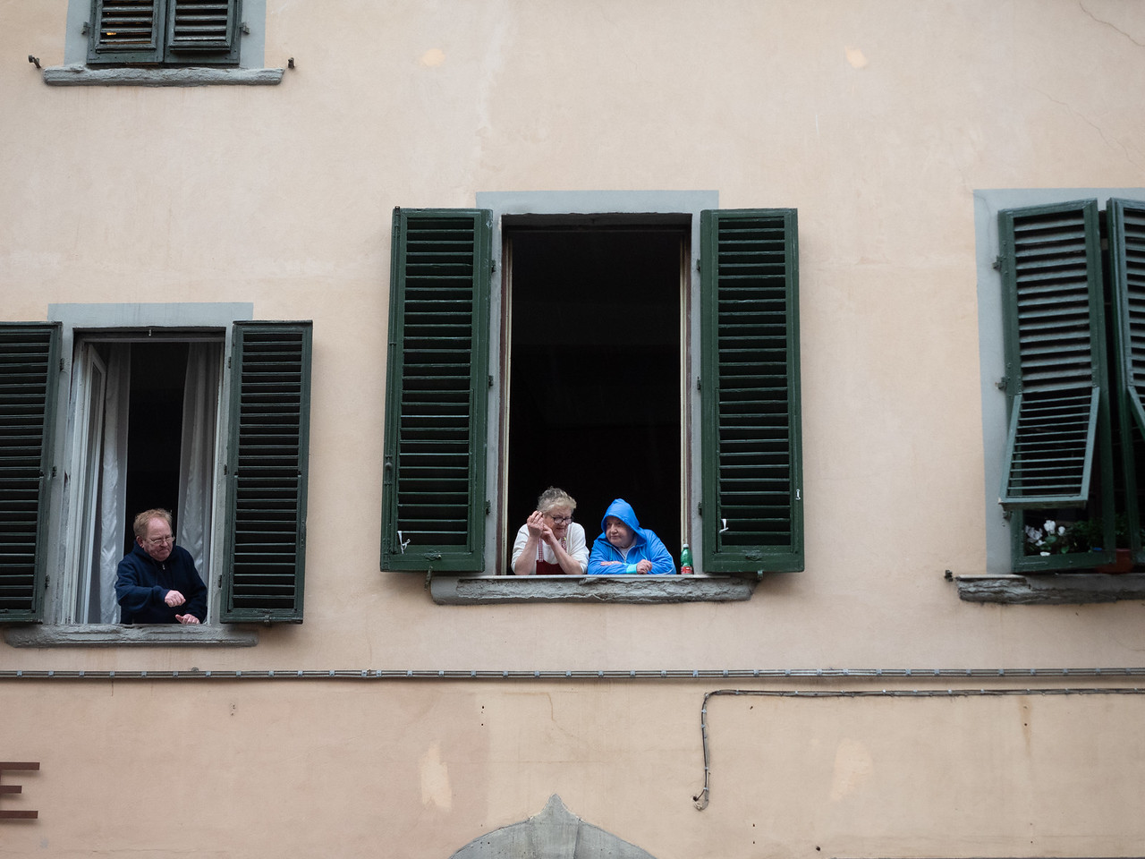 Good neighbours...shuttered windows  like this are seen throughout Florence.