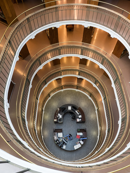 This is on the top floor of the library stacks looking down; it's such a striking architectural design. I had to resist the temptation to drop something on the guy at the desk below.