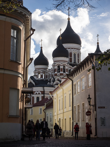 The Russian Orthodox cathedral in Tallinn; in the 19th Century there was a deliberate policy of Russification of the provinces so churches like this were built in prominent positions.