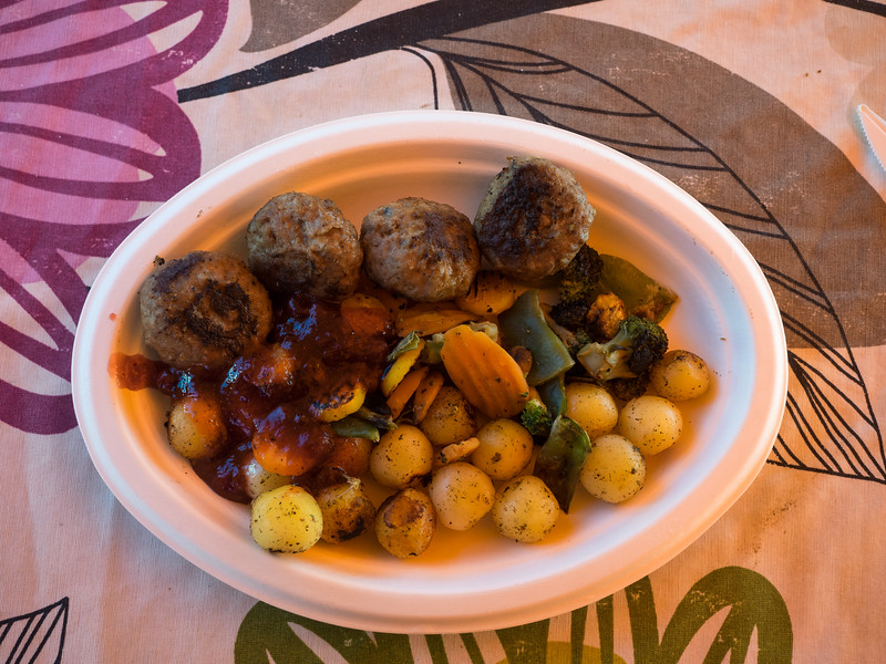 """Market Square in the centre of Helsinki has a lot of stalls serving a variety of """"traditional"""" Finnish dishes. These were moose meatballs, served with...jam. That's how they roll in Finland. Actually, it was lingonberry jam and it tasted delicious."""