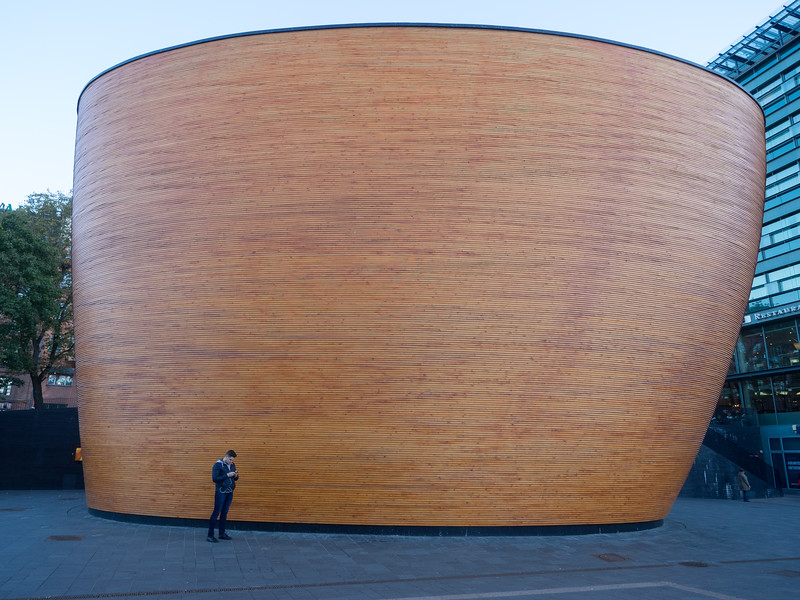 """This is the """"Chapel of Silence"""", in the centre of Helsinki. Inside is a small space for prayer and reflection. It's slightly oddly located in a plaza outside a shopping centre. But maybe that's exactly where people need it most."""