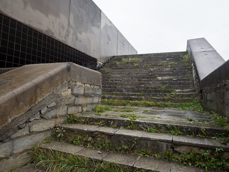 You can see how badly crumbling the concrete is here, on the steps.