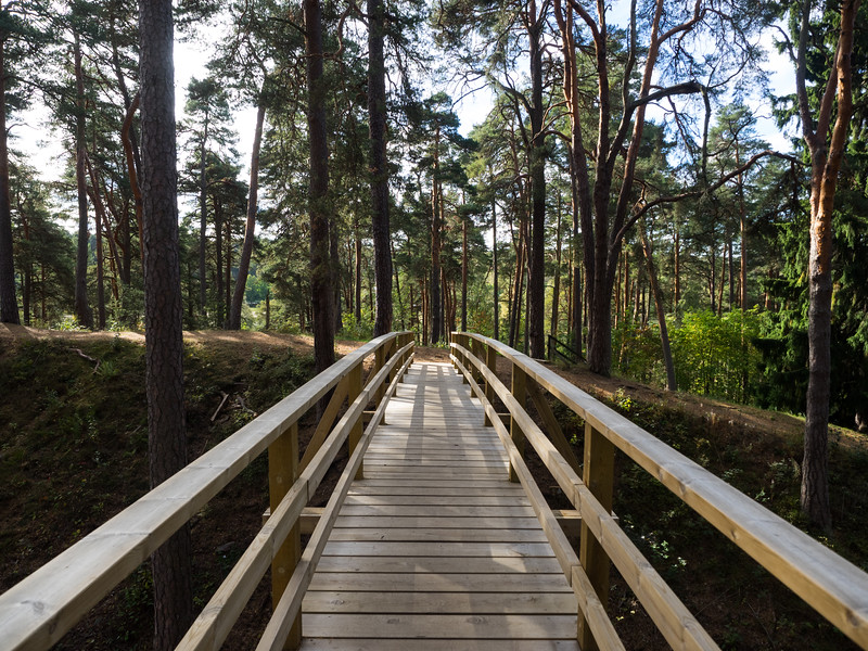 This bridge crossed the moat of an old medieval castle on the outskirts of Porvoo. There were red squirrels and woodpeckers in the surrounding trees.
