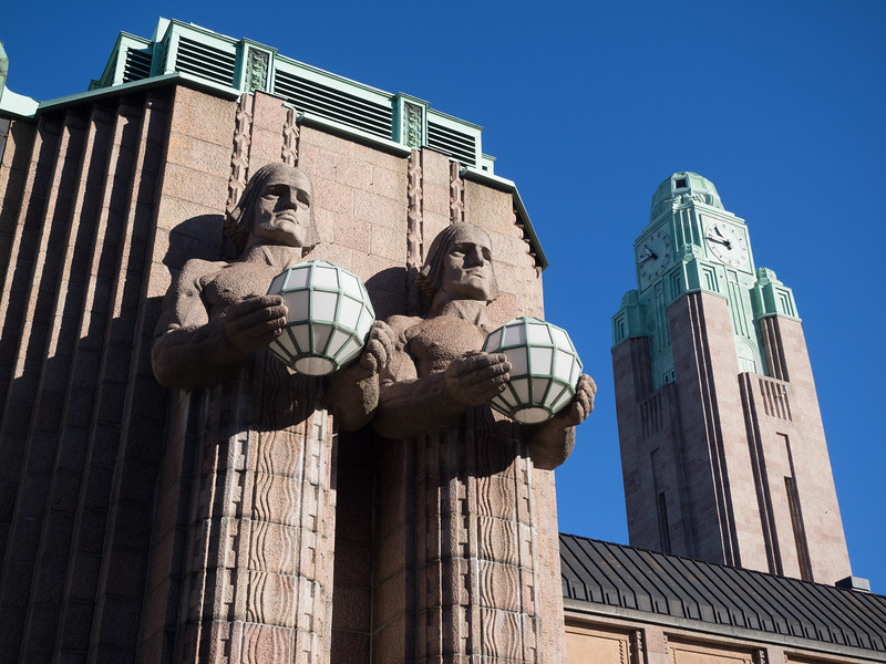 These iconic statues are outside the Central railway station in Helsinki. It's an absolutely beautiful station, very elegant.