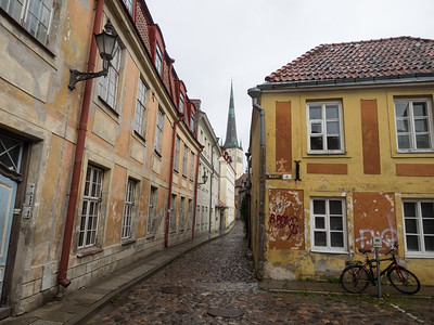 I loved walking around the backstreets in Tallinn, finding colourful, slightly decrepit, locations  like this.