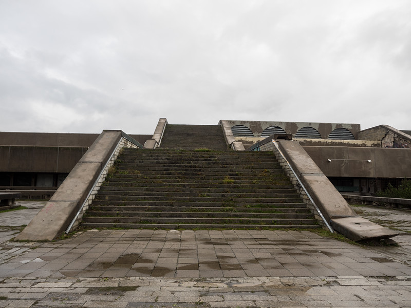 It kind of reminded me of an Aztec pyramid. When it was constructed I think there was the idea that it could also function as a military bunker in the event of an invasion.