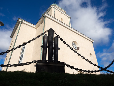 The fence around the church on the island had cannons as part of its construction. Originally the church was  Russian Orthodox, with typical onion domes, but in the early 20th Century it became Lutheran and the domes were knocked down. I kind of wish they'd kept them.