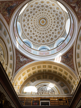 The domed ceiling of the fabulously ornate University Libray, on Senate Square.
