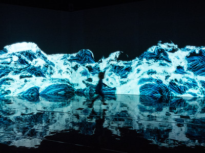 Helsinki has a new art gallery, Amos Rex, which has several huge rooms with video installations. This one had crashing waves projected on the walls (the silhouette is a real child, who was running gleefully around the room).
