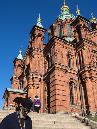 The Russian Orthodox cathedral in Helsinki (and a visiting Orthodox priest).