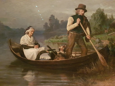 It's another coffin in a boat. It seemed to be a preoccupation of the early artists.  When I returned from Belfast I was in Waterstones and in a half-price sale spotted a book on Nordic art, which had many of these pictures in it. I bought it.