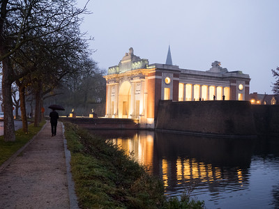 "The Menin Gate at dusk. The Last Post was at 8pm so I retired to a little bar right beside the Menin Gate and read through a book of World War One poetry that I'd just bought in the war museum here. Reading the words of the soldiers  (""We are the Dead..."") here made it all the more poignant."