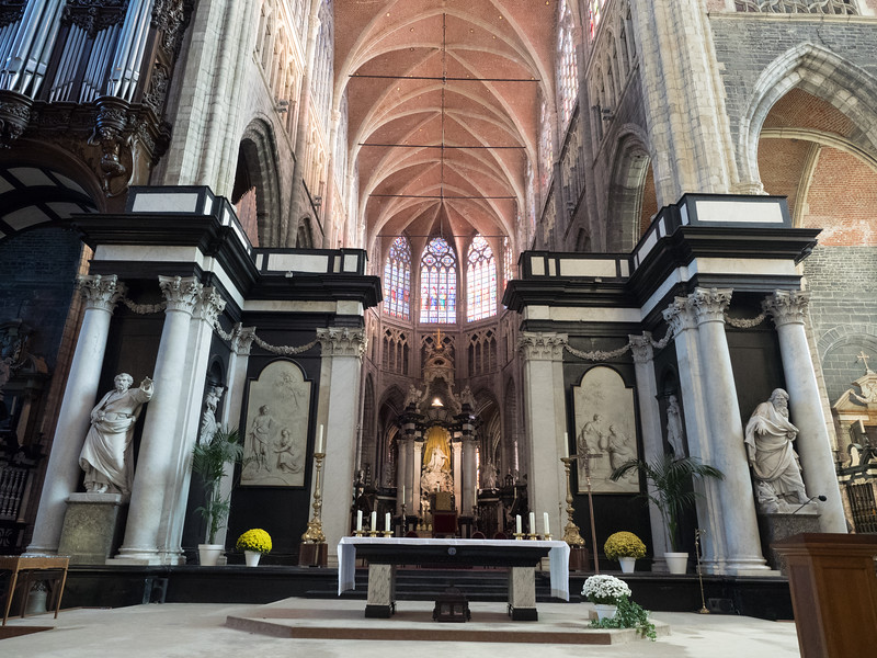 Inside the cathedral, Saint Baafskathedraal. The Adoration of the Mystic Lamb was in a little side chapel  (no photographs allowed, unfortunately). There was an impressive painting by Rubens in a chapel on the left.
