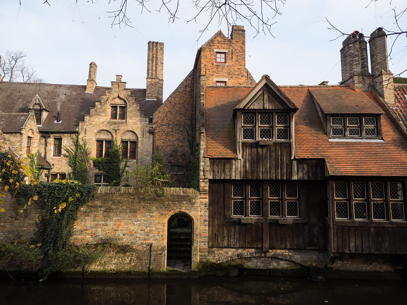 A beautiful old building beside one of the Bruges canals. The town has some wonderful architecture. Even modern buildings have been constructed in a harmonious style with the older ones.