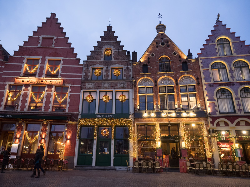Colourful buildings in the centre of Bruges; Christmas decorations were starting to go up.