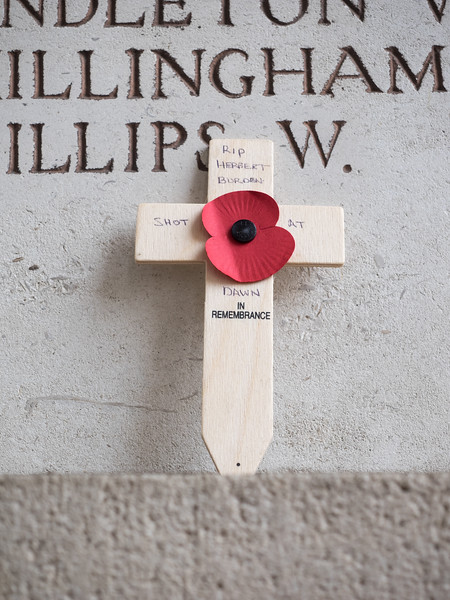 Shot at dawn; someone had left this at the Menin Gate. Herbert Burden was shot for desertion  in July 1915, at the age of 17, the youngest soldier to be executed by the British Army. In 2006 he was given a posthumous pardon by the British government.