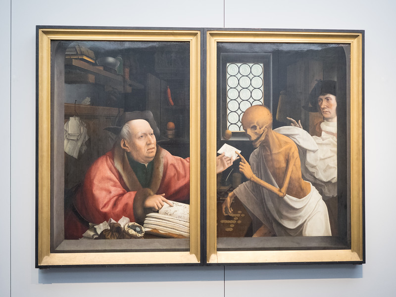 "I remember this painting (Death and the Miser, by Jan Provoost)  from ""In Bruges"". I thought it was fantastic the way it had been done as two separate paintings (though when I looked it up later I discovered it was originally a triptych and the centre panel has been lost. When the triptych was closed it looked like this)."