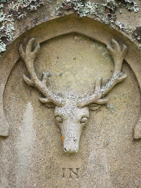 An unusual  stag carving on a grave in the cemetery.