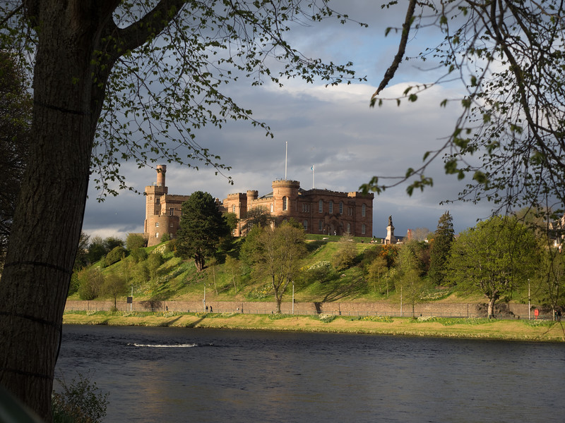 Inverness castle in the late evening sunshine.