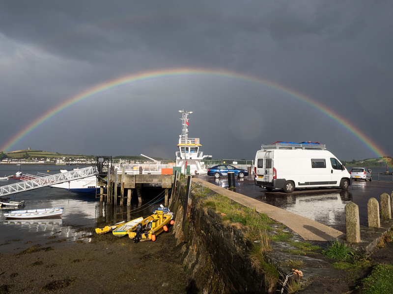 A perfect rainbow in Strangford! Shame about the white van.