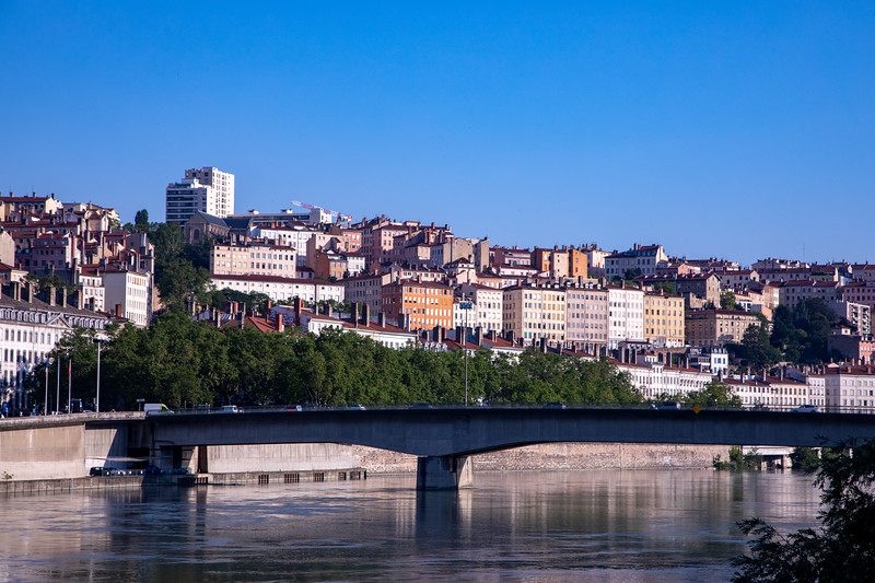 Looking Across the Saône River at the Croix-Rousse Neighborhood