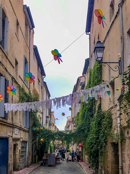 Street with streamers in the old city