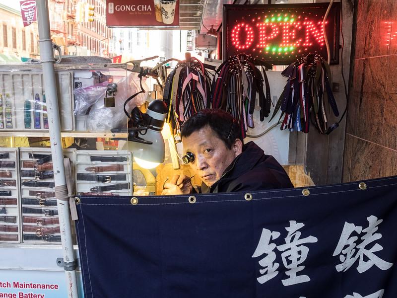 Watch repairs in Chinatown.