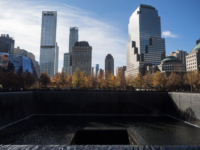 Looking at one of the memorial pools. There are two - each is in the imprint of one of the Twin Towers.