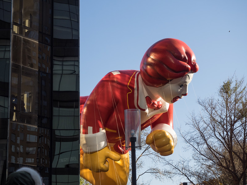 A giant Ronald McDonald at the Macy's Thanksgiving parade.