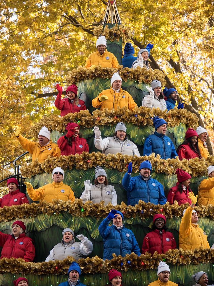 A big Christmas tree of people.