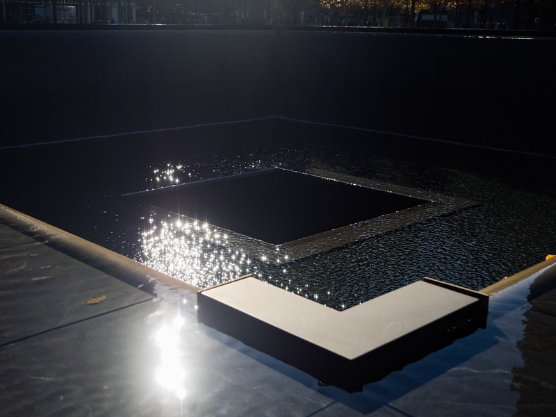 Light glimmering on the water at the 9/11 memorial. My hotel was right beside this - I could see it from my window.