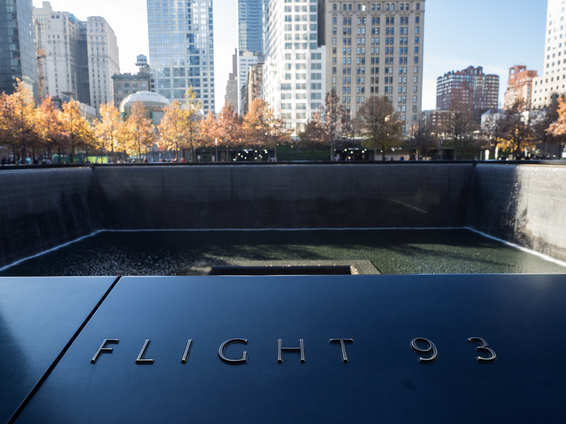 Flight 93 commemorated at the 9/11 memorial. All the victims have their names inscribed around the pools.