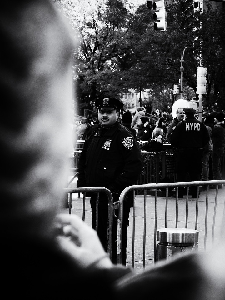 On the Thursday it was Thanksgiving Day and I got to watch the Macy's Parade. This cop clearly thinks I'm up to no good.