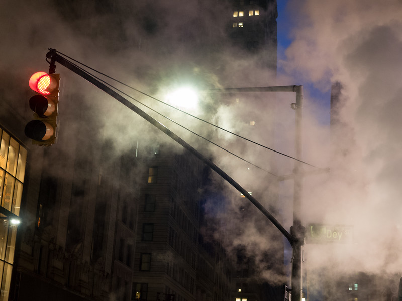 Steam and traffic lights in Downtown Manhattan.