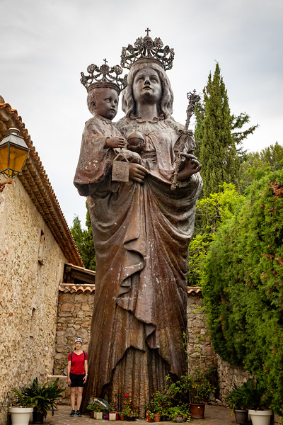 A Pretty Big Statue of Mary and Jesus