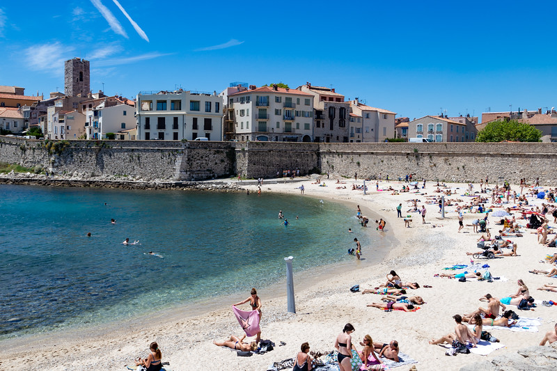 A beach just outside of the Walls of Antibes