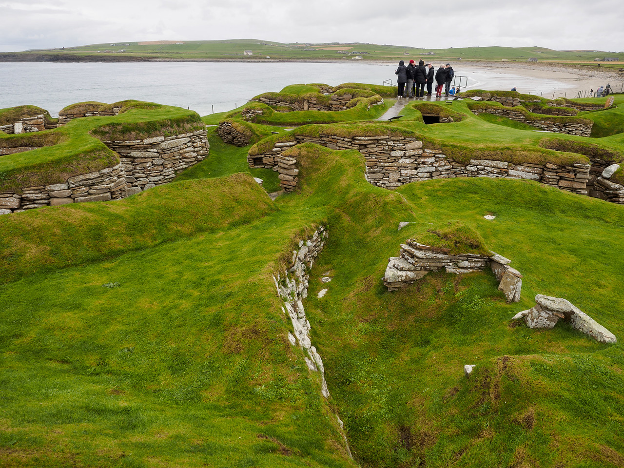 The very famous Neolithic village at Skara Brae, uncovered from the sand dunes by a storm in 1850.