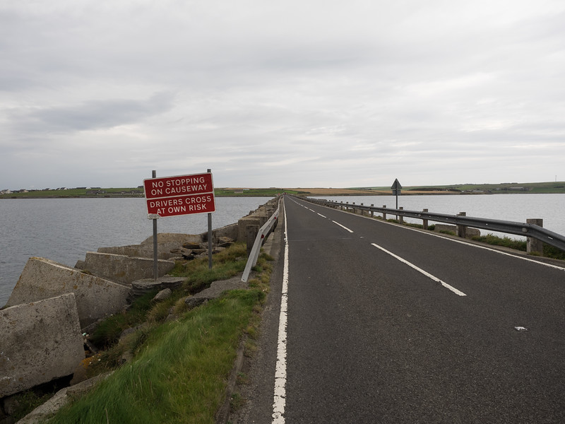 One of the Churchill barriers, connecting the islands, and originally constructed (by Italian POWs) during the Second World War to prevent submarine attacks.