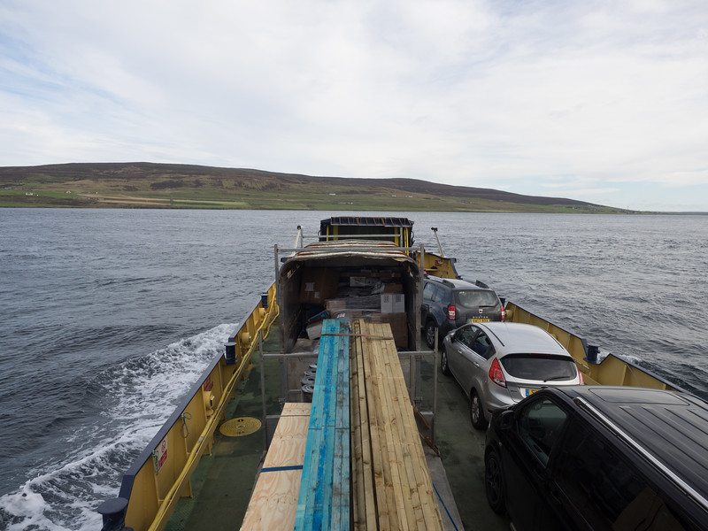 The ferry can carry a few cars.