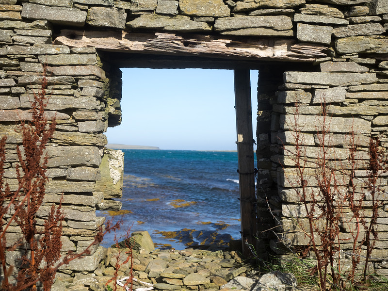 A  nice view of the sea from this ruined building.