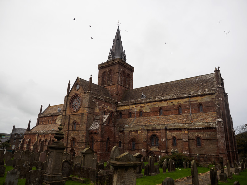 St. Magnus' Cathedral dominates  the centre of Kirkwall. The rooks liked flying ominously around the central tower.